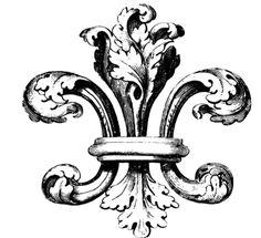 For our crest: Fleur de lis! Tattoo Fleur, 1 Tattoo, Vintage Images, French Vintage, French Typography, Vintage Ephemera, Design Elements, Illustration, Coloring Pages