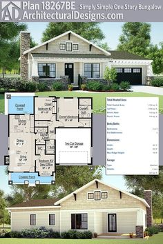 Architectural Designs House Plan 18267BE is a simple one-story bungalow with a vaulted interior. It gives you over 1,100 square feet of heated living space plus porches front and back. Ready when you are. Where do YOU want to build?