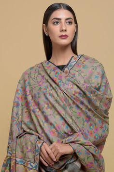 Natural Pure Kashmir Pashmina Kani Jamawar Weave Long Shawl