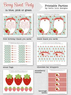 Berry Sweet Strawberry Party FULL Printable Birthday Party Collection  - {hello love designs via Etsy}