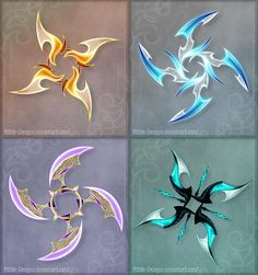Holy Fuck these are awesome. DO NOT edit, trace, copy or repost these designs! They belong to people who bought them. 1 (orange) - sold to GuardianofLightAura 2 (blue) - sold to ZoeVulpez 3 (violet) - sold to 4 (turqu. Armas Ninja, Shuriken, Pretty Knives, Cool Swords, Anime Weapons, Weapon Concept Art, Knives And Swords, Fantasy Art, Anime Fantasy