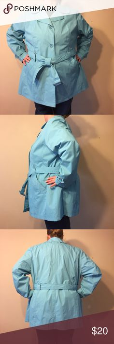 """Tiffany Blue Raincoat Fashion Bug Tiffany Blue Belted Raincoat. In great condition. Size 3X measures: 20"""" across shoulders, 28"""" across chest and body, 32"""" long, 26"""" sleeve. Belted with 2 front pockets and an interior pocket. Buttons on front that are blue with silver edging. Fully lined, the upper lining is blue and white plaid. Color is best represented by first 3 photos. 1127/400/11817 Fashion Bug Jackets & Coats"""
