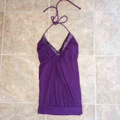 💫 Purple Halter Top - VS Lightly worn // Looks new Purple sequins across the the top! Only things is there's slight ripping in the tie (3rd picture)  Doesn't effect tying the shirt at all! Victoria's Secret Tops