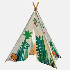 A charming children's jungle play teepee play tent that will create hours of fun, imagination and outdoor play. The outer exterior of the tent has a jungle print theme and pattern. This play tent is easy to assemble and can be taken to the park or set up in the garden for some outside adventure fun. A fantastic gift for imagination kids!