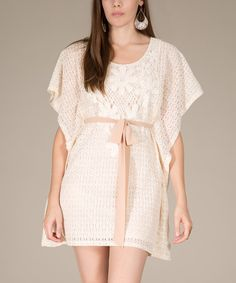 Look what I found on #zulily! Ivory Lace Cape-Sleeve Dress by Flying Tomato #zulilyfinds