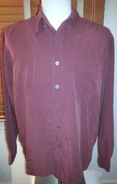 Royal Robbins Men's Maroon/Navy Checked Long Sleeve Shirt (Large)  #Navy #ButtonFront