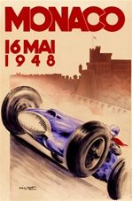 Monaco 1948 Race by Geo Ham France - Beautiful Vintage Poster Reproductions. This vertical French transportation poster features a blue race car and driver with a red scarf speeding past a castle. Giclee Advertising Print. Classic Posters