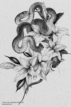 Dibujos Tattoo, Desenho Tattoo, Leg Sleeve Tattoo, 1 Tattoo, Tattoo Design Drawings, Tattoo Designs, Japanese Snake Tattoo, Snake Dragon, Bts Tattoos