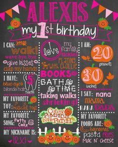 Pumpkin Birthday Chalkboard / First Birthday by LetsGetChalky