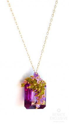 "Luxurious Alexandrite Briolette and Multi Color Gemstone Necklace ""Now We are free"""