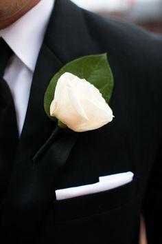 Pocket square + single rose boutonniere {Mark Davidson Photographer}