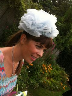 It was the night before my wedding, and I looked in my moms closet and I found the hats that my grandmother left to me when she passed. Man she had the most fabulous hats! Anyway, I found this and it matched my rehearsal dinner dress perfectly! She actually wore this hat to my moms wedding in 1964, and I wore my moms dress on my wedding day, so it was all very special. You dont see hats like this anymore!