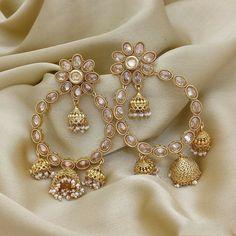 Gold Jhumka Earrings, Indian Jewelry Earrings, Fancy Jewellery, Indian Wedding Jewelry, Stylish Jewelry, Fashion Jewelry, Pearl Earrings, Artificial Jewellery India, Traditional Earrings