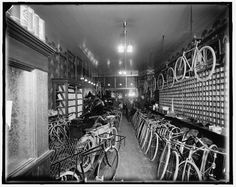 A bicycle sales and repair shop in Detroit, sometime between 1900 and 1920. (and gramophones, apparently)