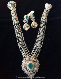 Diamond Long Necklace with Jhumka