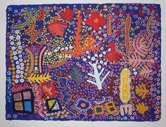 Marlee Napurrula  Flowers and Trees at Uwalki  limited edition reproduction  112 x 76 cm  $750 AUD