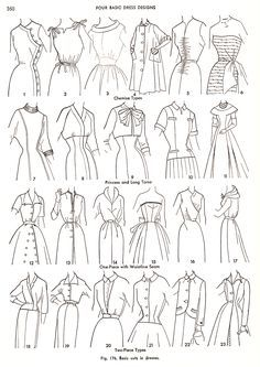 """For those who adore vintage clothing for its thoughtful, whimsical details, this blogger's posted some great illustrations from a 1954 dressmaker's book. """"I'd wear that!"""" http://HowToConsign.com suggests that you ask consignment, resale, thrift shopkeepers about any vintage items they have!"""