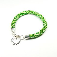 Bead Crochet Bracelet Green Bracelet Beaded by ArtStyleBizu
