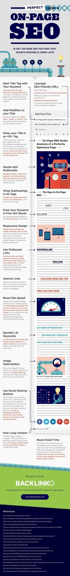 cool On-Page SEO: 16 Key On-Page SEO Factors that Search Engines + Users Love | Backl... #searchengineoptimizationtutorial,