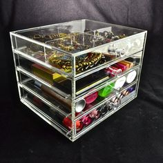 Top Drawer, Drawer Knobs, Acrylic Frames, Clear Acrylic, Makeup Storage, Makeup Organization, Drawers, Decorative Boxes, Crystals