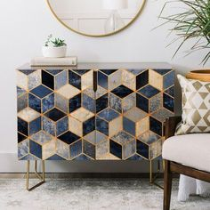 East Urban Home 2 Door Accent Cabinet Color: Gold Painted Furniture, Modern Furniture, Home Furniture, Furniture Design, Retro Furniture Makeover, Furniture Stores, Accent Furniture, Patterned Furniture, Futuristic Furniture