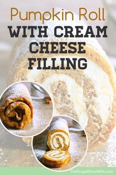 My pumpkin roll recipe is filled with cream cheese giving it an even richer taste! This is one of my favoritepumpkin recipes! #pumpkinrecipe #fallrecipe #pumpkinroll #autumn #frugalnavywife #dessert #dessertrecipe | Pumpkin Recipes | Fall Recipes | Dessert Recipes | Autumn Recipes | Pumpkin Roll Recipes | Easy Recipes for Fall Cream Cheese Recipes, Cream Cheese Filling, Canned Pumpkin, Pumpkin Spice, Pumpkin Rolls, Fall Dessert Recipes, Autumn Desserts, Ww Desserts, Thanksgiving Desserts