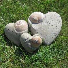 concrete heart with seashell