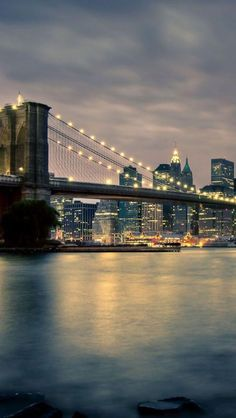 Brooklyn Bridge at Night, New York. Been there. Accidentally drove across into manhattan in a giant van. #memories.