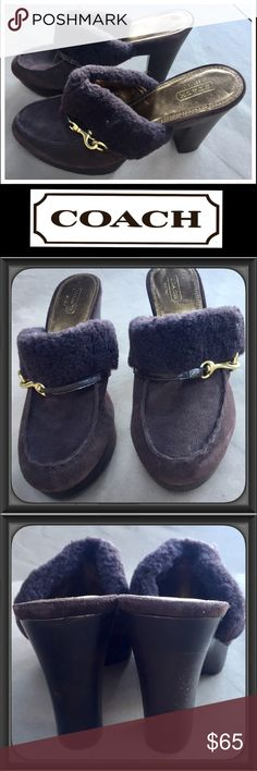 """👀NWOT Coach Brown Suede Mules👀 Never been worn, pair of brown suede heeled mules with gold and fur detail. Oh, so comfy and warm for the winter! The sole and heels look like dark wood. The heels are 4.5"""" and the platform is 1"""". Coach Shoes Mules & Clogs"""