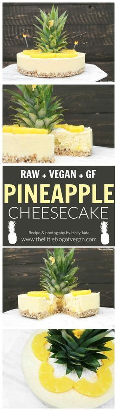 Creamy raw, vegan & gluten-free pineapple cheesecake with hidden pineapple chunks and a oat/coconut base!