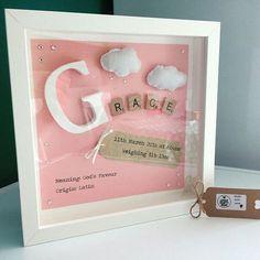 Nursery Decoration Girl Name Frame New Baby Gift Felt Art