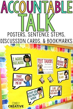 Teach your students how to have accountable talk using these sentence starters and stems. These speech bubbles contain rules and stems for students to use as prompts for having conversations in reading, writing, and math. These can be used on an anchor chart in primary or elementary classrooms. I also have bookmarks, lessons, and posters for teaching all about accountable talk and what is accountable talk!