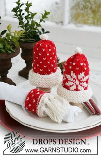 "These hats will make a great decoration for any Christmas tree by just adding a loop for hanging.   DROPS egg warmers and serviette ring with Christmas pattern in ""Karisma"". ~ DROPS Design"