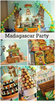 Great Madagascar party ideas for a boy birthday! See more party ideas at… Safari Birthday Party, Baby Boy 1st Birthday, Jungle Party, 3rd Birthday Parties, Baby Party, Birthday Ideas, Madagascar Party, Thinking Day, Party Ideas