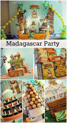Great Madagascar party ideas for a boy birthday! See more party ideas at CatchMyParty.com. #madagascar #boybirthday