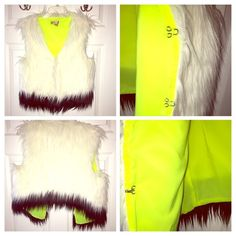 Vera Wang Faux Fur Vest NWOT Vera Wana Princess faux fur vest. New, never worn and priced very low. Brand new and is a large and fits medium. Yellow on the inside and goes great with a black dress. Night out chic, fashion forward and fun. MAKE ME AN OFFER. 😘 NWOT Vera Wang Jackets & Coats Vests