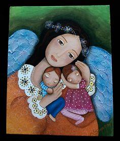 """""""Amor angelical""""  Tablero lienzo P. Acrílica y texturizado  8x10 cm"""