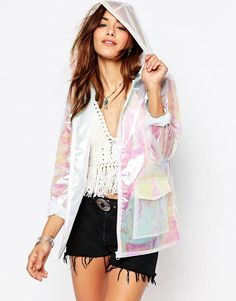 Missguided   Missguided Holographic Raincoat at ASOS