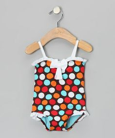 Take a look at this Brown & Blue Spot-On Ruffle One-Piece - Infant, Toddler & Girls by Azul Swimwear on #zulily today!