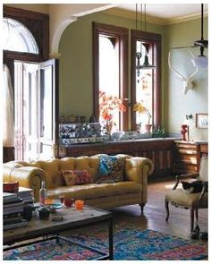 I really love those brightly colored vintage couches.