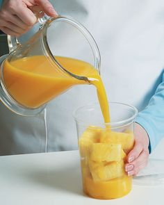 Here's a great way to store fresh pineapple. First, cut pineapple into bite-sized pieces, then place in a glass or plastic container with orange juice to cover. The juice helps keep the pineapple fresh for a week. Plus, the orange juice gets infused with pineapple flavor and tastes great!