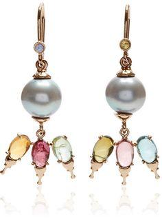 Daniela Villegas 18K Gold and South Sea Pearl Khepri Fairy Earrings