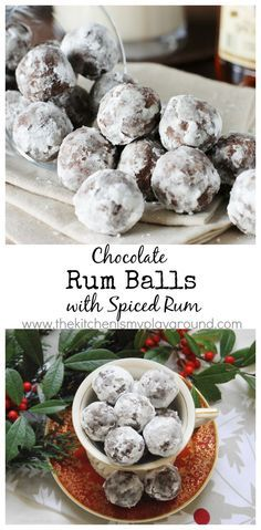 Chocolate Rum Balls with Spiced Rum ~ a Christmas classic. www.thekitchenismyplayground.com
