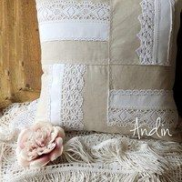 Shabby Chic Cushions, Vintage Pillows, Diy Pillows, Throw Pillows, Burlap Lace, Hessian, Diy Crafts For Girls, Fat Quarter Quilt, Fabric Ornaments