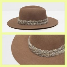 Zara FELT HAT WITH BRAIDED DETAIL DETAILS   Brown 3306/211 #ZARA