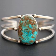 Navajo Sterling Silver FOX TURQUOISE Bracelet Womens Cuff s6.25 by R&E Endito