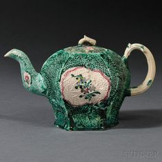 Staffordshire Salt-glazed Stoneware Cabbage-molded Teapot and Cover | Sale Number 2663B, Lot Number 1374 | Skinner Auctioneers