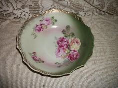 antique Bavaria Germany rose design bowl gold by FabulousFinds1, $19.99