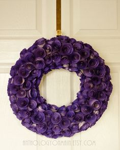 Book Page Rosette Wreath in Deep Violet Purple - Unique Handmade Upcycled and Eco Friendly KSU and LSU Home Decor. $75.00, via Etsy.