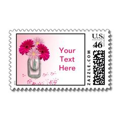 Pretty Pink Daisies Mason Jar Vase Personalized Postage Stamps